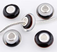 www.beadyourfashion.com - Large-hole-style glass bead with 925 silver core (sterling silver), roundel ± 7x14mm (hole ± 4,5mm)