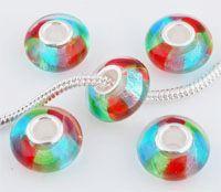 www.beadyourfashion.es - Estilo-agujero-grande cuenta de vidrio con núcleo de 925 plata (sterling silver), rondelle con papel de plata ± 7x14mm (hueco ± 4,5mm)