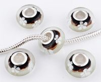 www.beadyourfashion.com - Large-hole-style glass bead with 925 silver core (sterling silver), roundel decorated with flowers ± 7x14mm (hole ± 4,5mm)