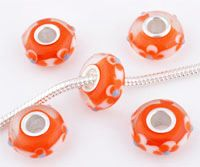 www.beadyourfashion.com - Large-hole-style glass bead with 925 silver core (sterling silver), roundel decorated with flowers and dots ± 7x15mm (hole ± 4,5mm)