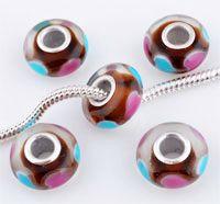 www.beadyourfashion.nl - Groot-gat-style glaskraal met 925 zilveren kern (sterling silver), rondel versierd met hartjes ± 7x14mm (gat ± 4,5mm)