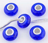 www.beadyourfashion.nl - Groot-gat-style glaskraal met 925 zilveren kern (sterling silver), rondel versierd met luchtbelletjes ± 7x14mm (gat ± 4,5mm)