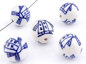 www.beadyourfashion.nl - Porseleinen kralen rond versierd met molens ± 18mm (gat ± 2mm)