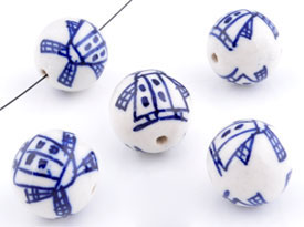 www.beadyourfashion.com - Porcelain beads round decorated with mills ± 14mm (hole ± 2mm)