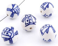 Porcelain beads round decorated with mills ± 14mm (hole ± 2mm)