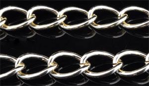 www.beadyourfashion.nl - Metalen aluminium ketting met ovale schakels ± 1 meter (schakel ± 11,7x8,4mm)