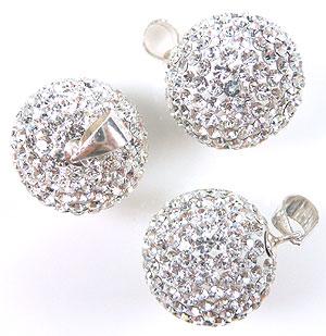 www.beadyourfashion.nl - Strass hanger/bedel met 925 zilveren klemmetje (sterling silver) en Swarovski steentjes, bol ± 24x16mm (gat ± 3x4mm)