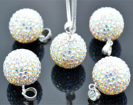 Strass Anhänger mit 925er Silber Collierschlaufe (sterling silver) und Swarovski Steine, Kugel ± 24x16mm (Loch ± 3x4mm)