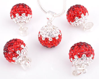 www.beadyourfashion.com - Strass pendant/charm with 925 silver bail (sterling silver) and Swarovski stones, ball ± 24x16mm (hole ± 4x5mm)