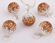 Strass pendant/charm with 925 silver bail (sterling silver) and Swarovski stones, ball ± 19x12mm (hole ± 3x4mm)