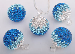www.beadyourfashion.com - Strass pendant/charm with 925 silver bail (sterling silver) and Swarovski stones, ball ± 19x12mm (hole ± 3x4mm)