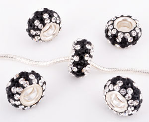 www.beadyourfashion.com - Large-hole-style strass bead with 925 silver core (sterling silver) and Swarovski stones, roundel ± 7x12mm (hole ± 4mm)