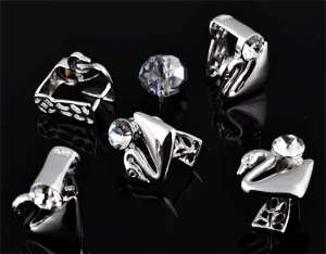 www.beadyourfashion.de - 925er Silber Collierschlauf (sterling silver) rhodium plated, Schwan mit Strass Kristall Stein ± 12x10mm