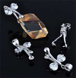 www.beadyourfashion.com - 925 Silver pendant bail (sterling silver) rhodium plated, dragonfly with cubic zirconia ± 20x12,5mm (hole ± 4mm)