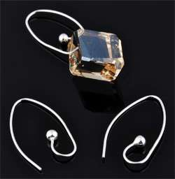 www.beadyourfashion.com - 925 Silver ear wire fish hook (sterling silver) with ball ± 24,5x12,5mm