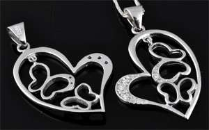 www.beadyourfashion.com - 925 Silver pendant (sterling silver) rhodium plated, heart with cubic zirconia and butterflies ± 34x23mm (hole ± 3x5mm)