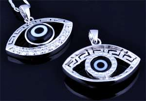 www.beadyourfashion.com - 925 Silver pendant (sterling silver) rhodium plated, lucky eye with cubic zirconia and glass ± 24x23mm (hole ± 3x4mm)