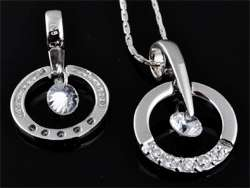 www.beadyourfashion.com - 925 Silver pendant (sterling silver) rhodium plated with cubic zirconia, round ± 24x15mm (hole ± 4x5mm)