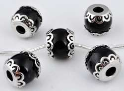 www.beadyourfashion.com - Large-hole-style natural stone bead Agate with 925 silver caps (sterling silver) rhodium plated, decorated ± 12x11mm (hole ± 4,2mm)