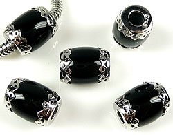 www.beadyourfashion.com - Natural stone bead Agate with 925 silver caps (sterling silver) rhodium plated, oval decorated ± 13x9mm (hole ± 4mm)