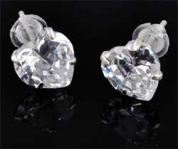 www.beadyourfashion.com - 925 Silver ear studs (sterling silver) with cubic zirconia, heart ± 15x7mm with synthetic ear nuts
