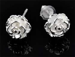 www.beadyourfashion.com - 925 Silver ear studs (sterling silver) flower ± 15x7mm with synthetic ear nuts