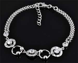 www.beadyourfashion.com - 925 Silver bracelet (sterling silver) rhodium plated with cubic zirconia ± 16,5-19cm (link round ± 8mm)