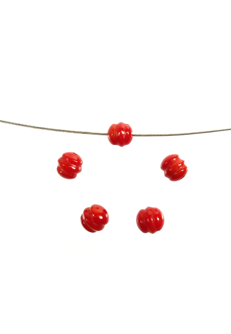 www.beadyourfashion.com - Natural stone beads coral round decorated ± 6mm (hole ± 1mm)