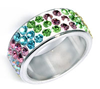 www.beadyourfashion.com - Stainless steel fingerring with strass ± 23mm, inner size ± 18mm