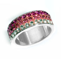 www.beadyourfashion.com - Stainless steel fingerring with strass ± 22mm, inner size ± 17mm