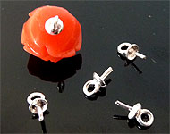 925 Silver pin (sterling silver) with eye for bead with half-drilled hole ± 7x3mm (pin ± 0.7mm thick) (eye ± 1,5mm)