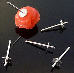 www.beadyourfashion.nl - 925 Zilveren oorstekers (sterling silver) met pin voor kraal met halfgeboord gat ± 12x4mm (pin ± 0.7mm dik)