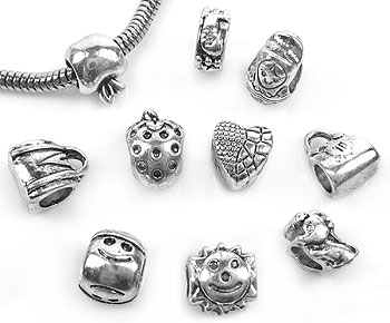 www.beadyourfashion.com - Mix large-hole-style metal beads decorated ± 5x10 - 10x11mm (hole ± 4-5mm)