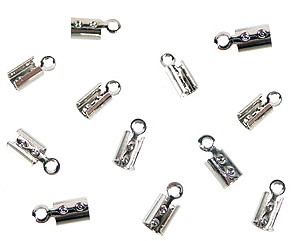 www.beadyourfashion.com - Metal cord crimp for suede & leather laces ± 8x3mm (hole ± 1mm)