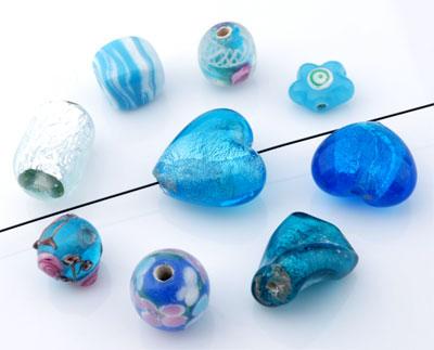 www.beadyourfashion.com - Mix glass beads Italian style ± 9-22mm (± 15-25 pcs.) (hole ± 1,5-4mm)