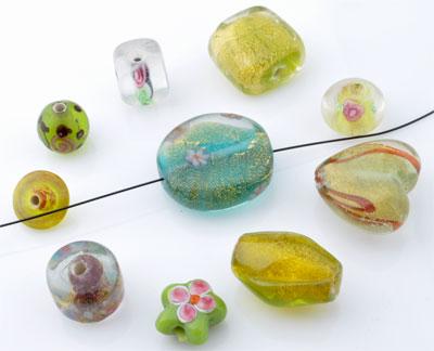 www.beadyourfashion.com - Mix glass beads Italian style ± 7-22mm (± 15-30 pcs.) (hole ± 1,5-2,5mm)