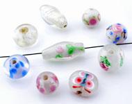 Mélange de perles de verre Italian style ± 7-20mm (± 15-25 pcs.) (trou ± 1,5-3mm)