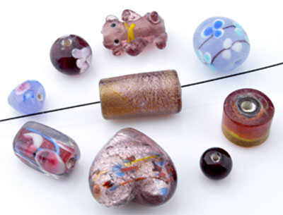 www.beadyourfashion.nl - Mix glaskralen Italian style ± 7-18mm (± 15-35 st.) (gat ± 1,5-2,5mm)