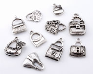 Mix metal pendants/charms bags ± 15x9mm - 24x14mm (hole ± 1,5 - 4x5mm)