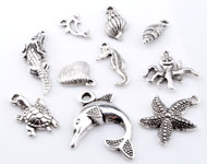 Mix metal pendants/charms sea life ± 16x6mm - 33x22mm (hole ± 1-3mm)