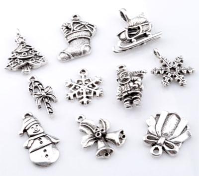 www.beadyourfashion.com - Mix metal pendants/charms winter ± 18x14mm - 25x12mm (hole ± 1mm - 3x5mm)