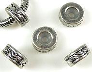 Style-grand-trou perles de métal rondelle decorée, avec poussoir de caoutchouc ± 5x10mm (trou ± 4mm)