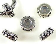 Style-grand-trou perles de métal rondelle decorée, avec poussoir de caoutchouc ± 5x11mm (trou ± 4mm)