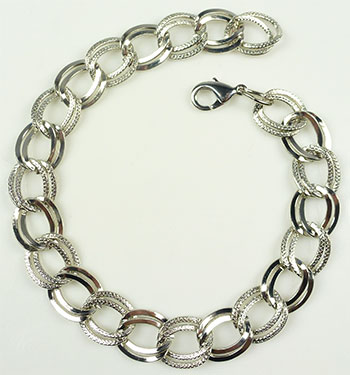 www.beadyourfashion.com - Metal bracelets with double, decorated links ± 25cm (link ± 15x13mm)