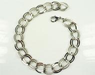 Bracelets de métal avec maillons decorés et doubles ± 25cm (maillon ± 15x13mm)