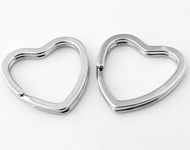 Metal key fobs ring heart shaped ± 31mm