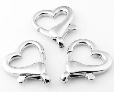 www.beadyourfashion.com - Metal key fobs/clasps heart shaped ± 27x22mm (hole ± 3mm)