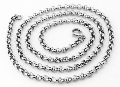 www.beadyourfashion.com - Stainless steel necklace jasseron ± 55cm (link ± 4mm and clasp ± 12x7mm)