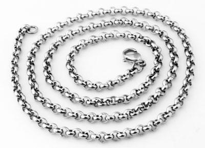 www.beadyourfashion.nl - Roestvrij stalen halsketting jasseron ± 55cm (schakel ± 4mm en slotje/sluiting ± 12x7mm)