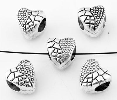 www.beadyourfashion.com - Large-hole-style metal beads roundel heart decorated ± 9x10mm (hole ± 5mm)